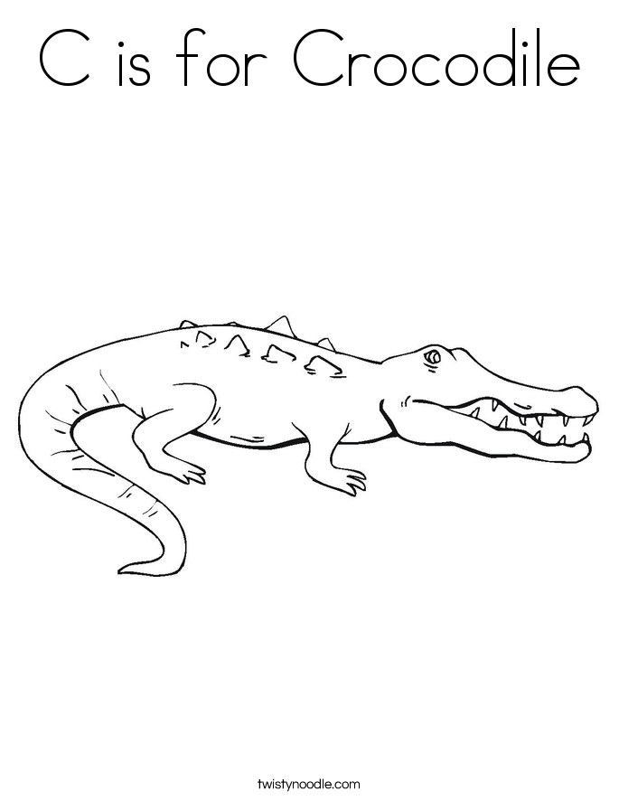 c is for crocodile coloring page twisty noodle