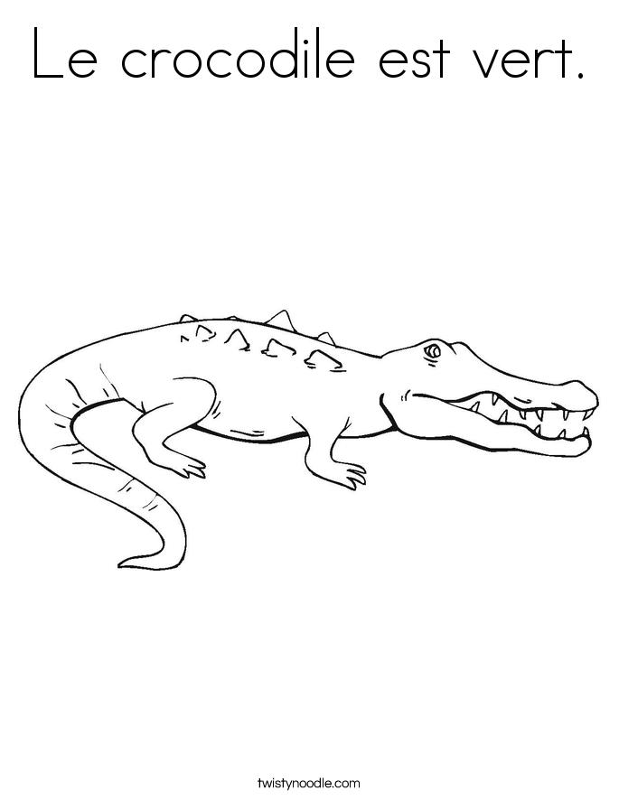 Le crocodile est vert. Coloring Page