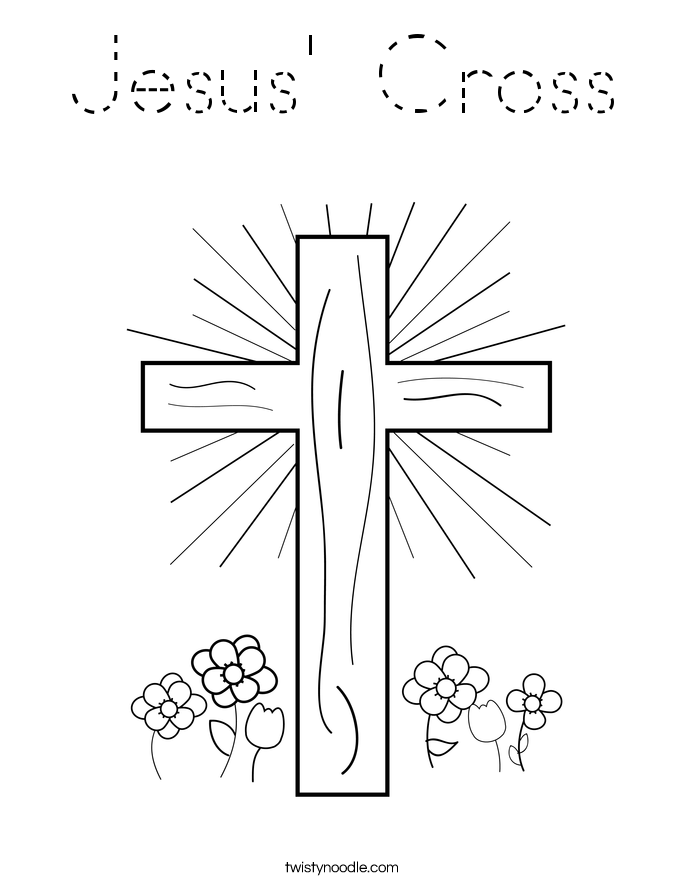 Jesus 39 Cross Coloring Page Tracing Twisty Noodle