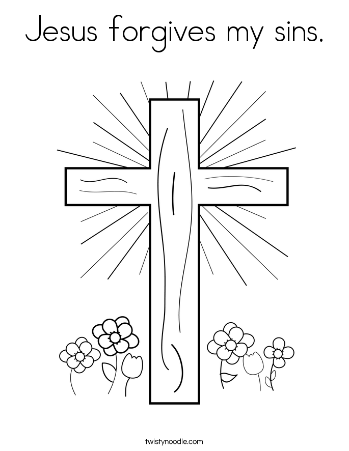Jesus forgives my sins Coloring Page - Twisty Noodle
