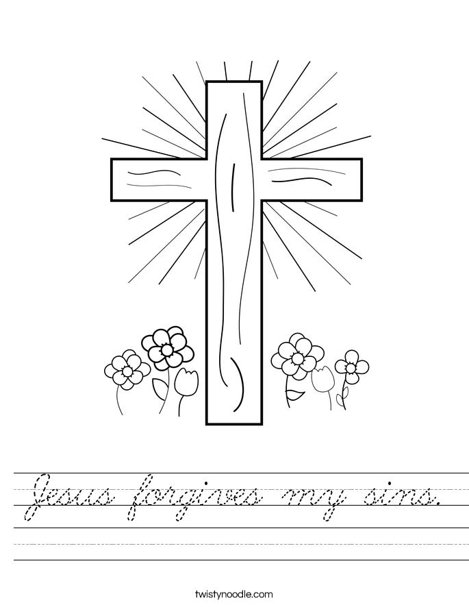 Jesus forgives my sins. Worksheet