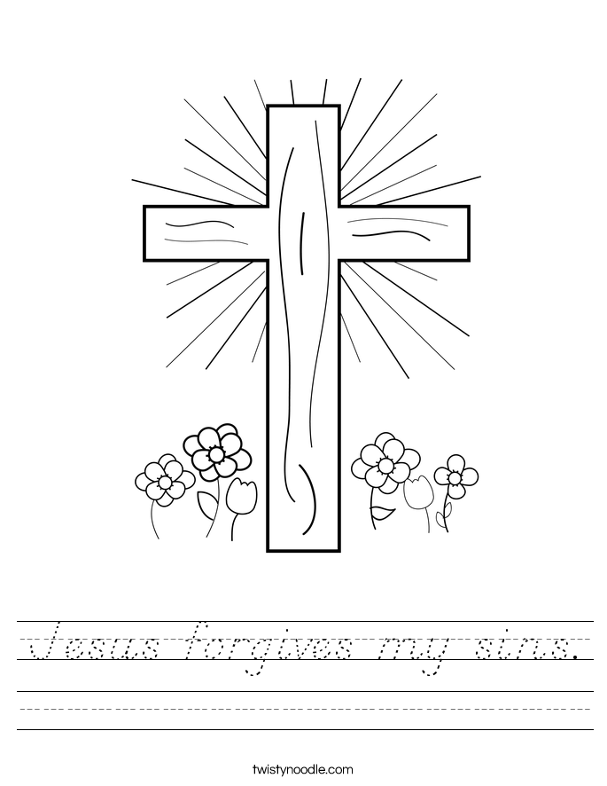 Jesus forgives my sins. Worksheet