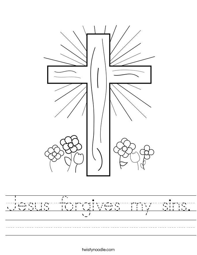 jesus forgives my sins worksheet twisty noodle. Black Bedroom Furniture Sets. Home Design Ideas