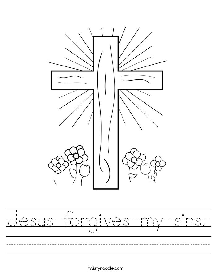 Jesus fives my sins Worksheet Twisty Noodle