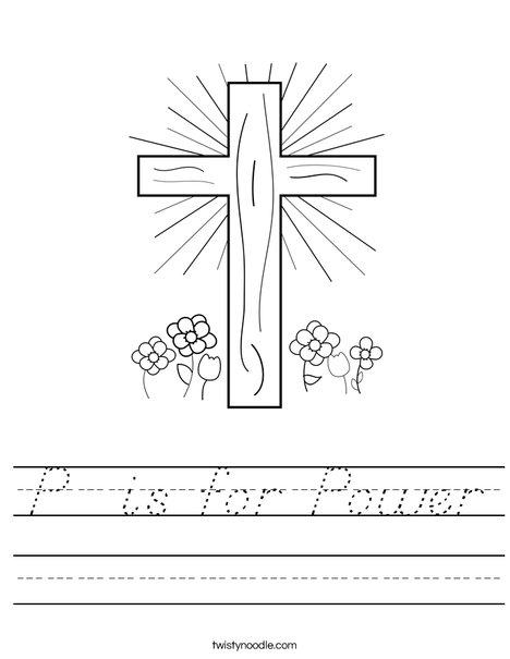 Cross with Flowers Worksheet