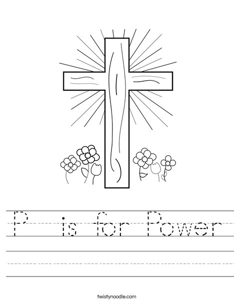 Cross with Flowers Worksheet