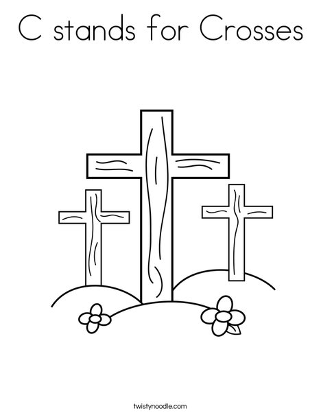 C Stands For Crosses Coloring Page