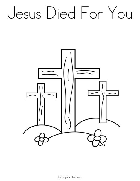 crosses on a hill coloring page print this