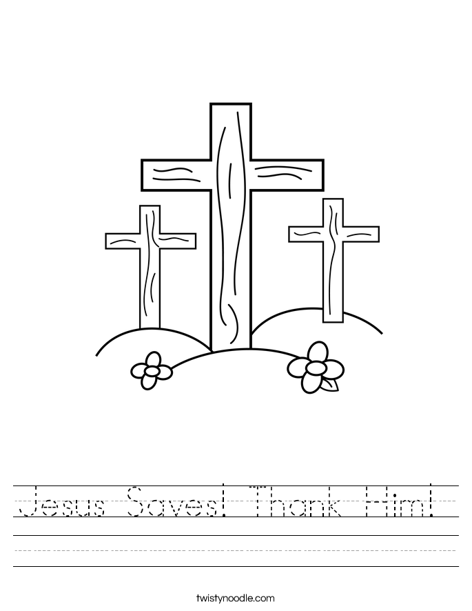Jesus Saves! Thank Him!  Worksheet