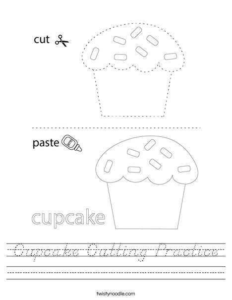 Cupcake Cutting Practice Worksheet