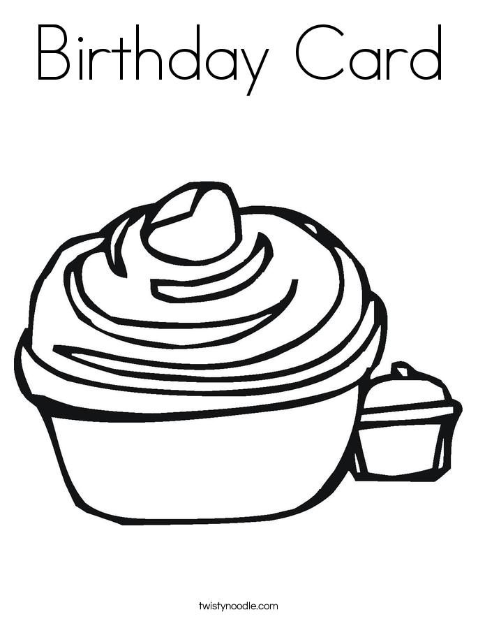 Birthday Card Coloring Page.