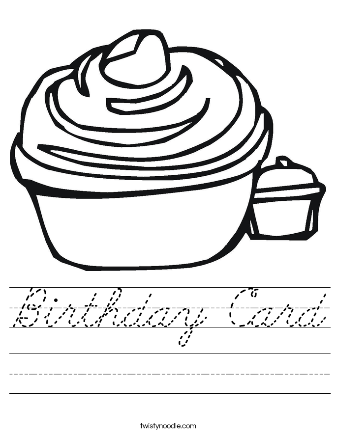Birthday Card Worksheet