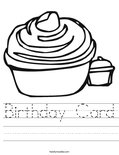 Birthday Card Worksheet