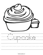 Cupcake Handwriting Sheet