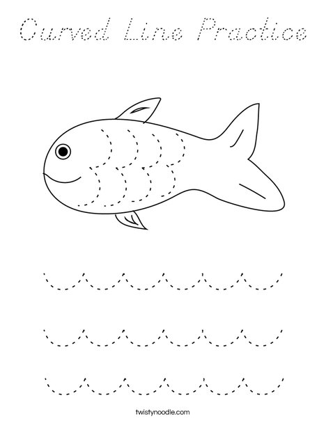 Curved Line Practice Coloring Page
