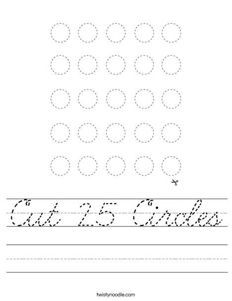 Cut 25 Circles Worksheet