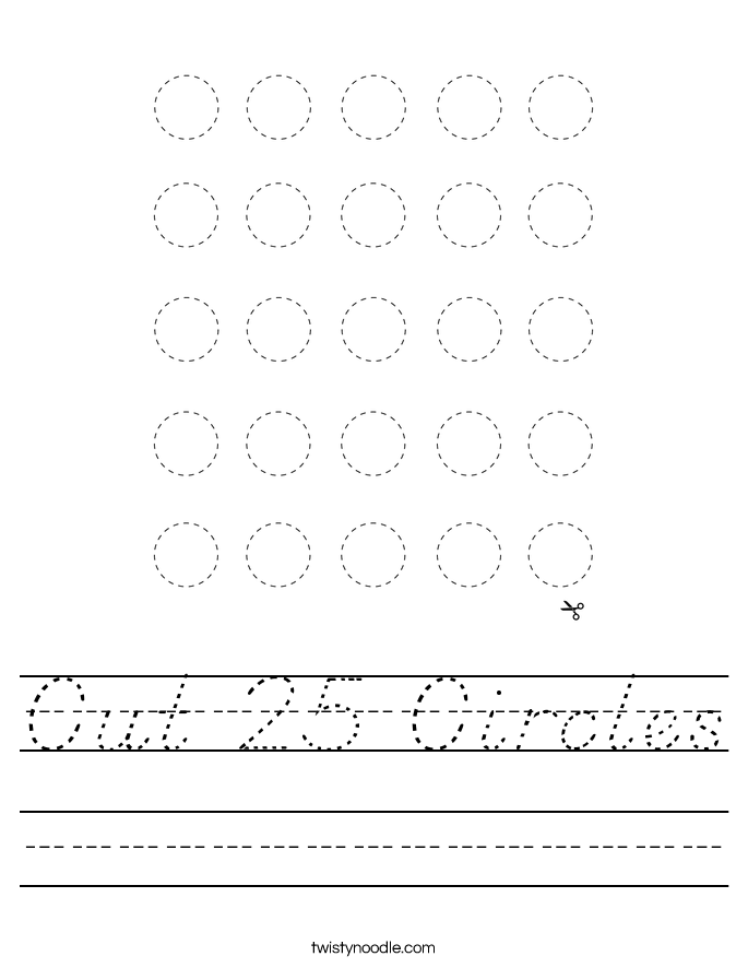 Cut 25 Circles Worksheet