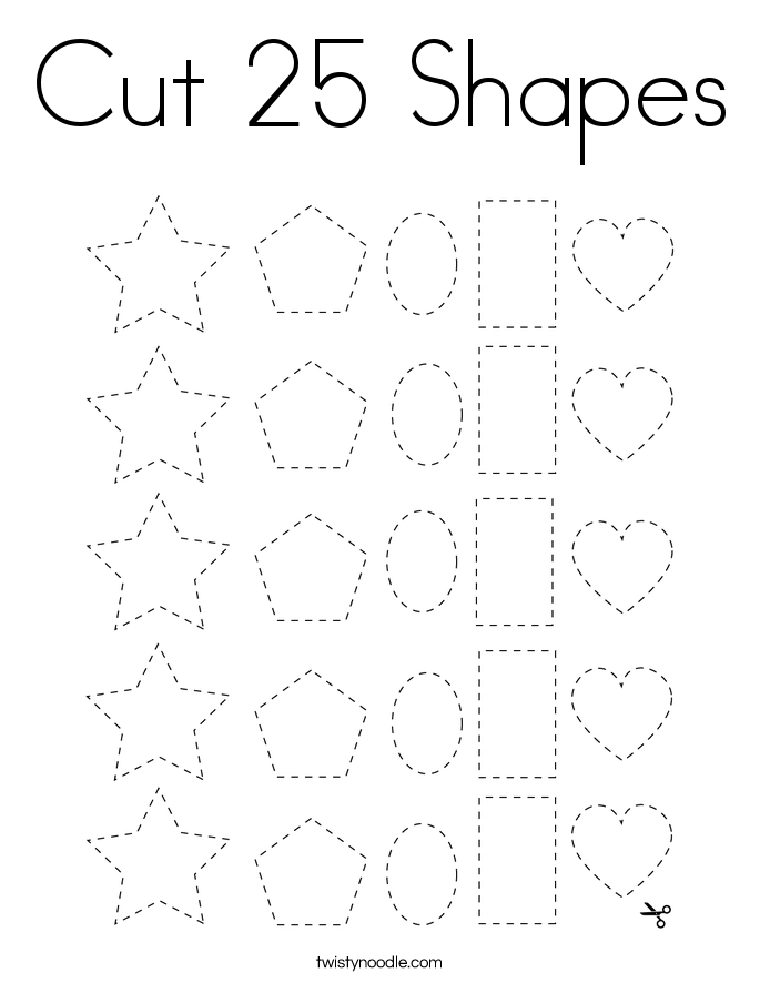 Cut 25 Shapes Coloring Page