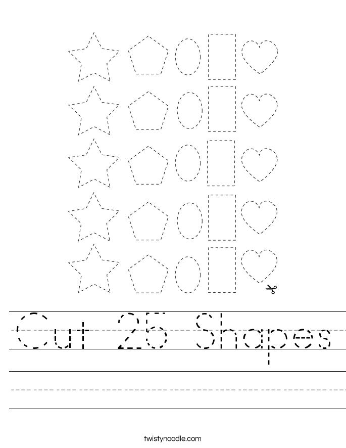 Cut 25 Shapes Worksheet