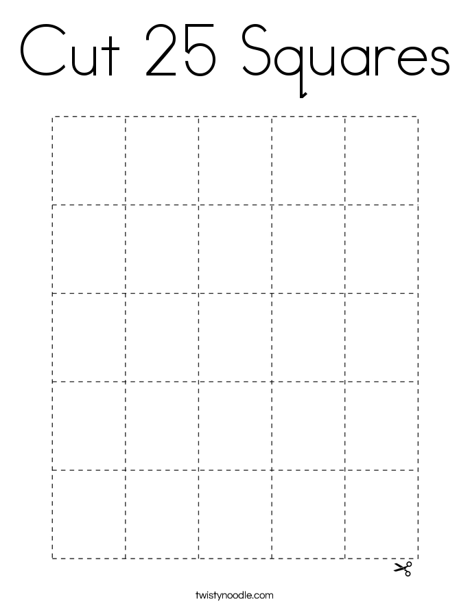 Cut 25 Squares Coloring Page