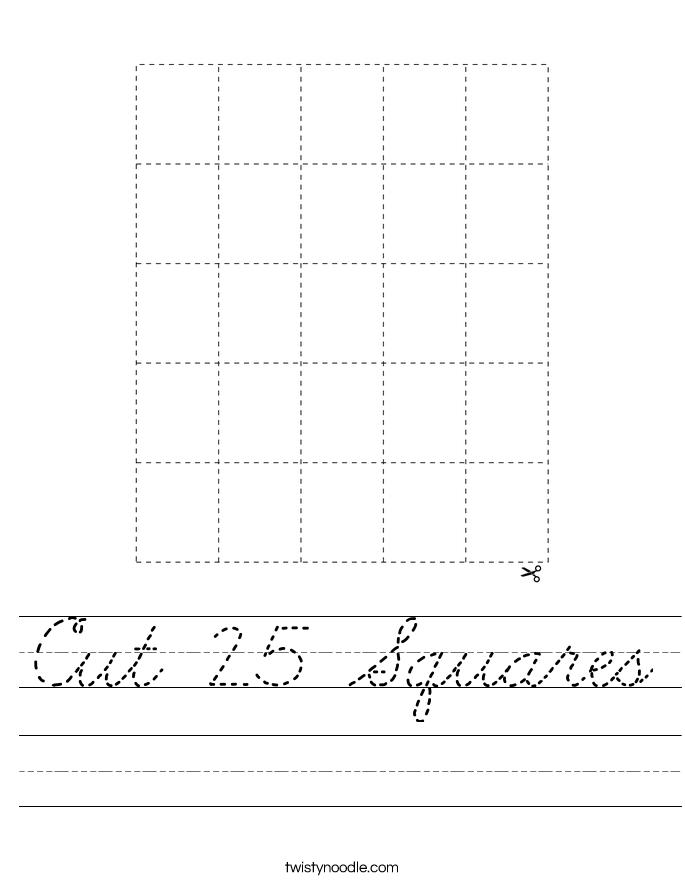 Cut 25 Squares Worksheet