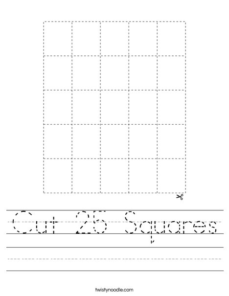 Cut 25 Squares Worksheet