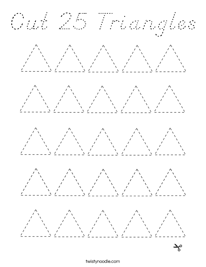 Cut 25 Triangles Coloring Page