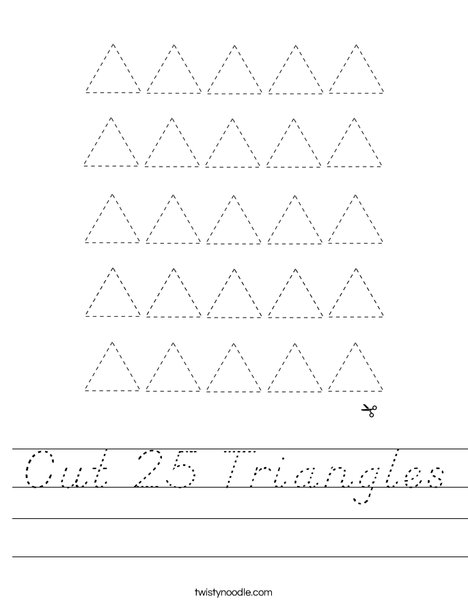 Cut 25 Triangles Worksheet