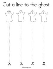 Cut a line to the ghost Coloring Page