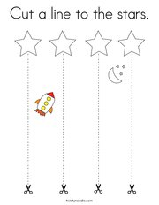 Cut a line to the stars Coloring Page
