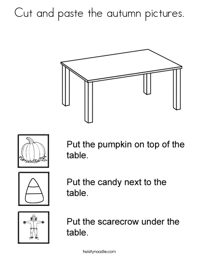 Cut and paste the autumn pictures. Coloring Page