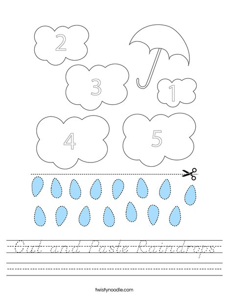 Cut and Paste Raindrops Worksheet