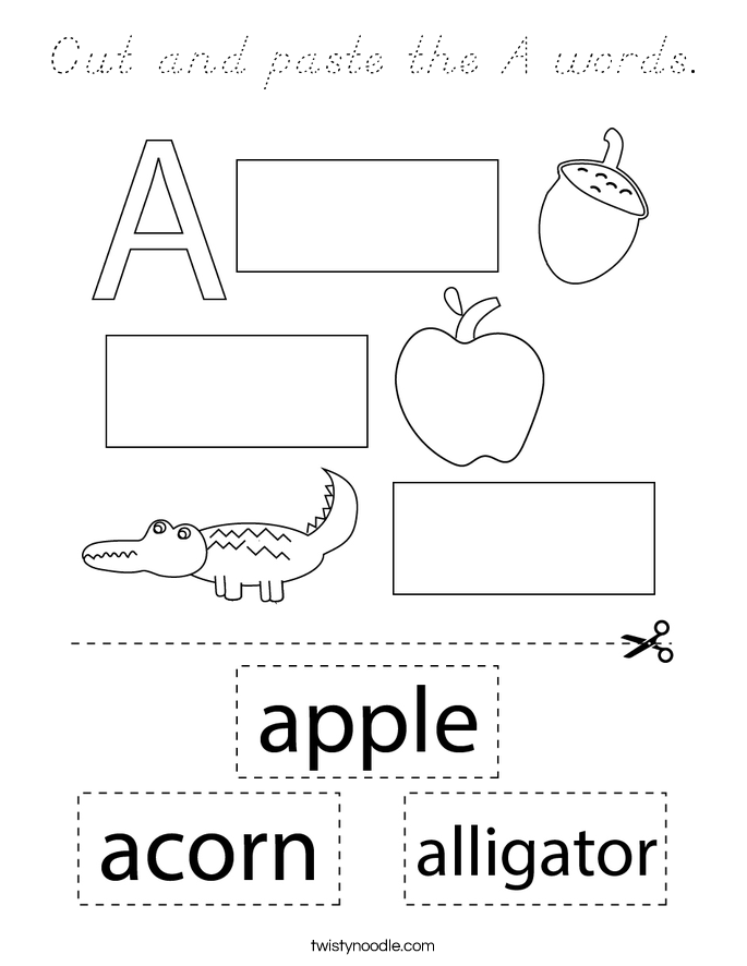 Cut and paste the A words. Coloring Page