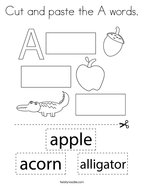 Cut and paste the A words Coloring Page