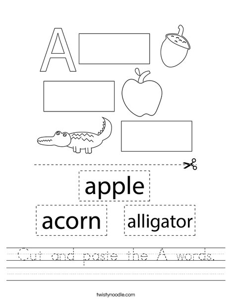 Cut and paste the A words. Worksheet