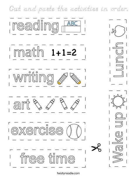 Cut and paste the activities in order. Coloring Page