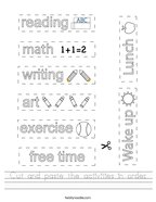 Cut and paste the activities in order Handwriting Sheet