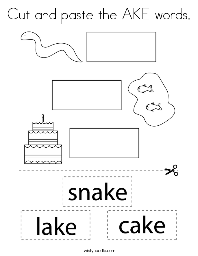 Cut and paste the AKE words. Coloring Page