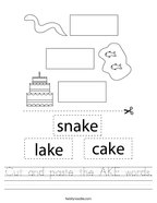 Cut and paste the AKE words Handwriting Sheet