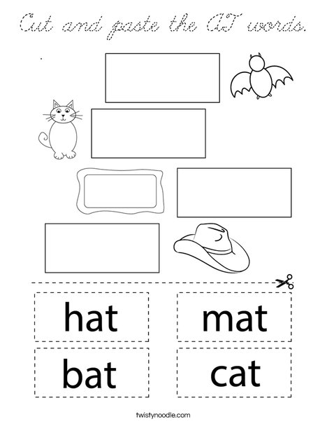 Cut and paste the AT words. Coloring Page