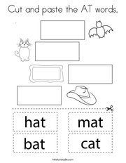 Cut and paste the AT words Coloring Page