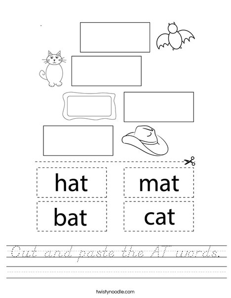Cut and paste the AT words. Worksheet