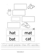 Cut and paste the AT words Handwriting Sheet