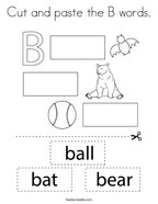 Cut and paste the B words Coloring Page