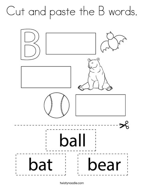 Cut and paste the B words. Coloring Page