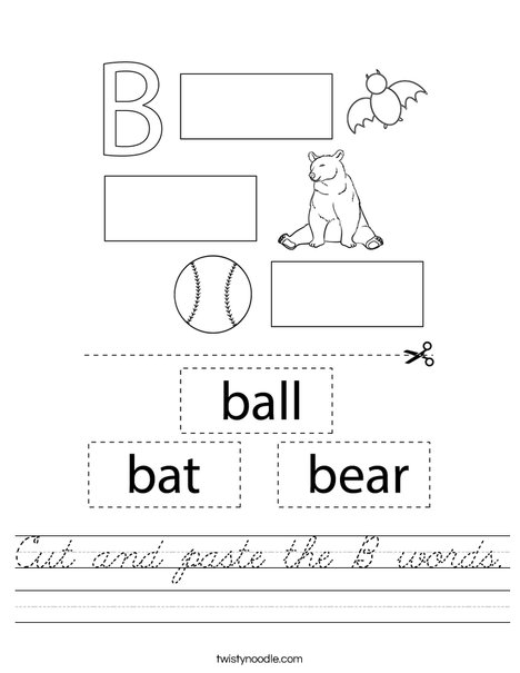 Cut and paste the B words. Worksheet