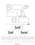 Cut and paste the B words Handwriting Sheet