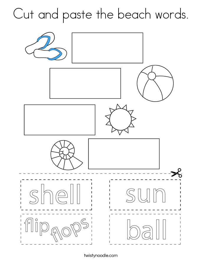 Cut and paste the beach words. Coloring Page
