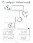 Cut and paste the beach words Coloring Page
