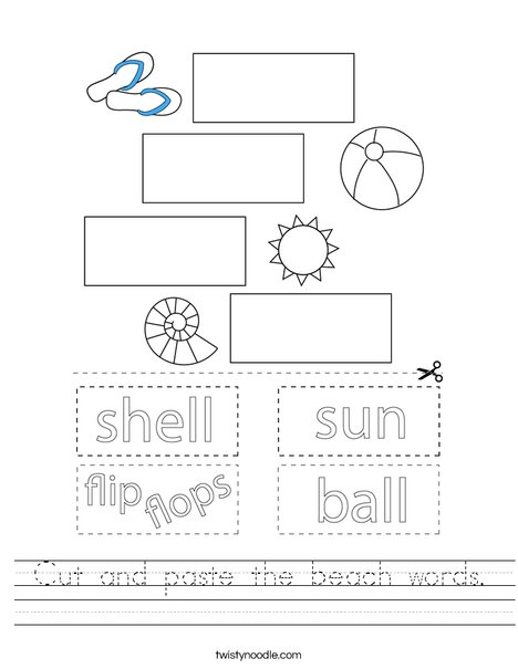 Cut and paste the beach words. Worksheet